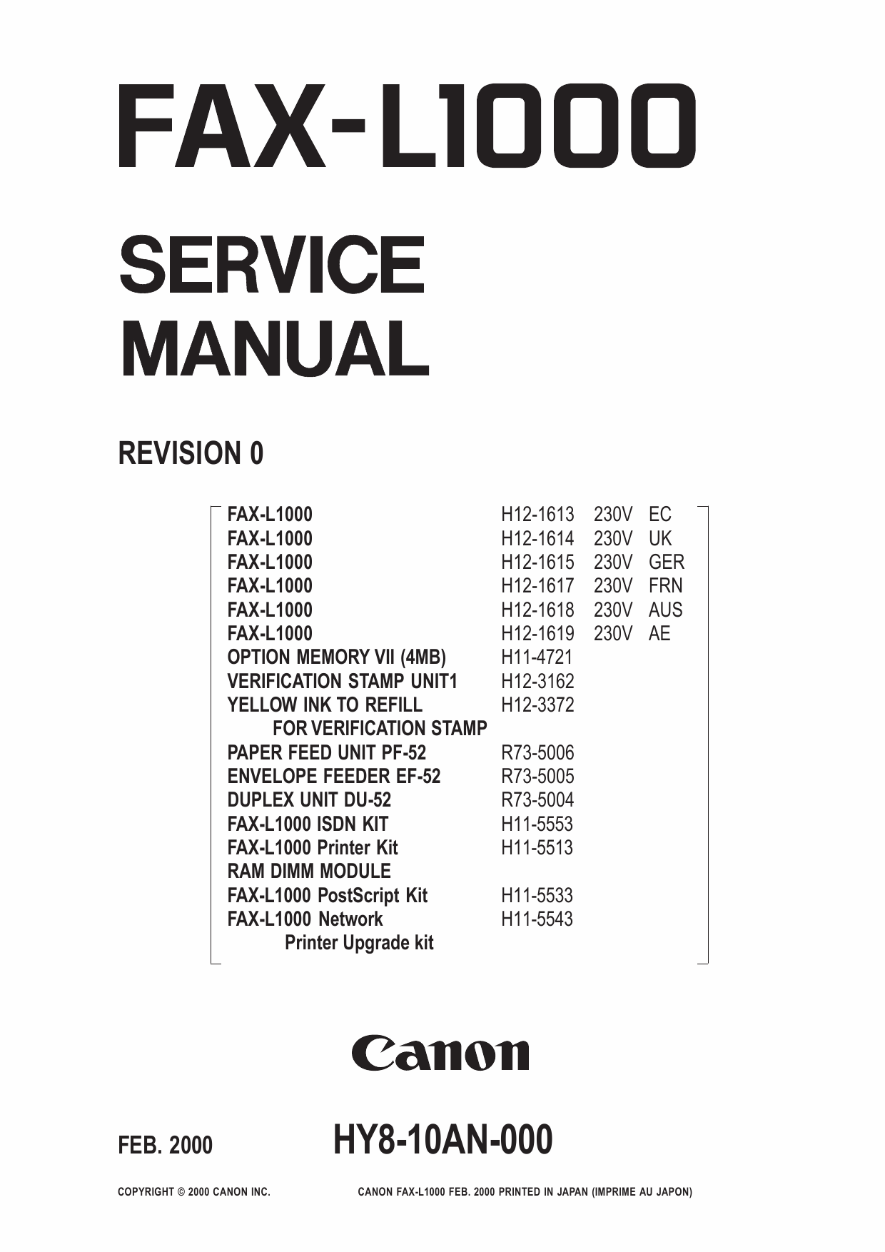 Canon FAX L1000 Parts and Service Manual-1